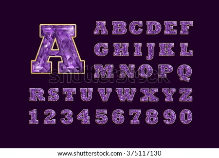 Stylized  vector sparkling jeweled amethyst precious stone  fancy latin abc alphabet. Use letters to make your own text - stock vector