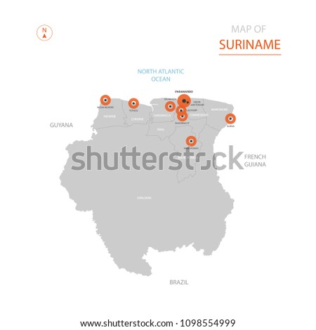 Stylized Vector Suriname Map Showing Big Stock Vector 1098554999
