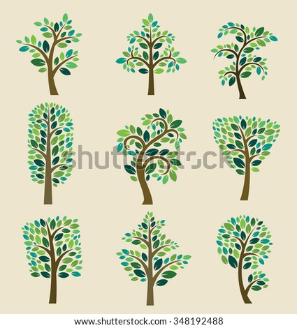 Stylized vector tree collection. Vector tree flat silhouette isolated on background. Tree different size and forms. Tree icons set. Tree eco nature. Green collection of tree. Leaves, tree. Tree vector - stock vector