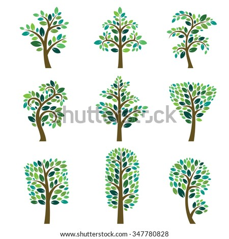Stylized vector tree collection. Vector tree flat silhouette isolated on white. Tree different size and forms. Tree icons set. Tree eco nature. Green collection of tree. Leaves, tree. Tree vector - stock vector