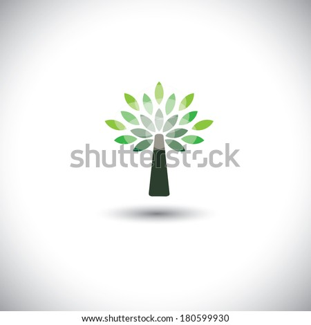 stylized vector tree icon with green leaves - eco concept vector. This graphic also represents pristine environment, evergreen forests, growing shrub, young tree, etc - stock vector