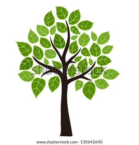 Stylized vector tree with green leafs. Element design - stock vector