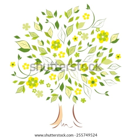 Stylized vector tree with leaf and flowers - stock vector