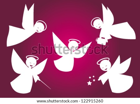 Stylized vector white angels - stock vector