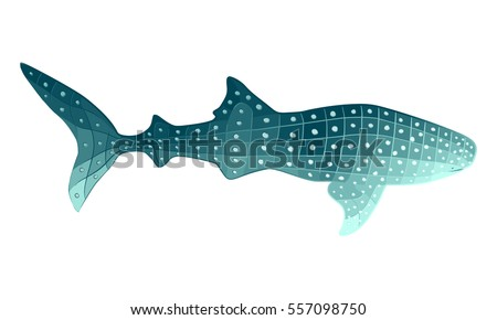 Stylized whale shark illustration with geometric shapes and dots colored in shades of turquoise. Gradient polygon style sea animal vector.