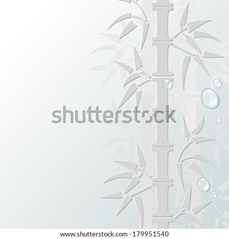 Stylized white papery bamboo vector illustration with water droplets on the surface.All objects are conveniently grouped on different layers and are easily editable - stock vector