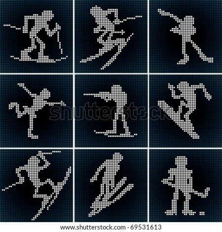 Stylized Winter Sport. Vector Icons. - stock vector