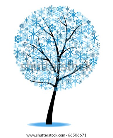 Stylized winter tree. Object isolated for Your design - stock vector