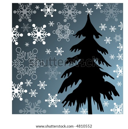 stylized winter tree with snowflakes  vector - stock vector