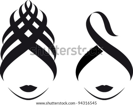 Stylized woman's face with turban