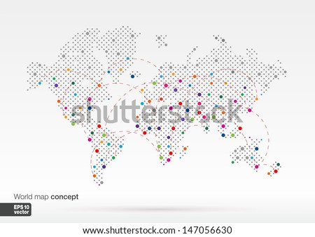 Stylized World Map concept with biggest cities. Globes business background.Colorful vector illustration. With lines for communication, travel, transport, network and web design. - stock vector