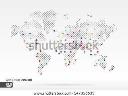Stylized world map concept biggest cities stock photo photo vector stylized world map concept with biggest cities globes business backgroundlorful vector illustration gumiabroncs Image collections