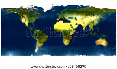 Stylized world map. Vector Illustration. Based on the image furnished by NASA - stock vector