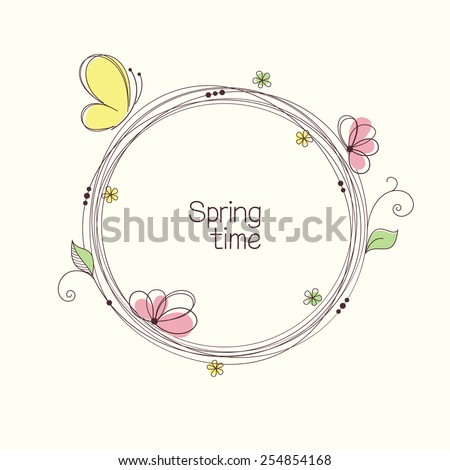 Stylized wreath with flowers and butterfly. Round floral frame for your text - stock vector