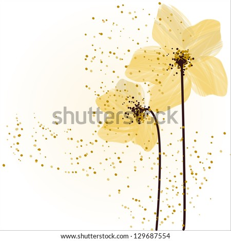 Stylized yellow flowers. Abstract floral background. - stock vector