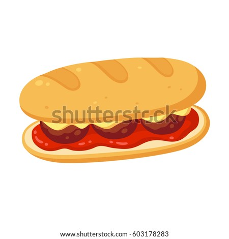sub sandwich meatballs cheese tomato marinara stock vector hd rh shutterstock com sub sandwich vector clipart sub sandwich clipart black and white