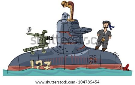 submarine - cartoon - stock vector