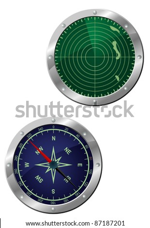 Submarine equipment - navigation compass and radar devices in icon style. Rasterized version also available in gallery - stock vector