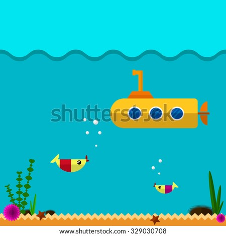 Submarine icon. Flat design style modern vector illustration. Isolated on stylish color background. - stock vector