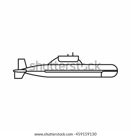 Submarine icon in outline style on a white background - stock vector