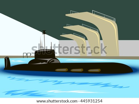 submarine surfaced in the pool with blue water and diving board - stock vector