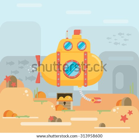 Submarine under water concept vector flat illustration - stock vector