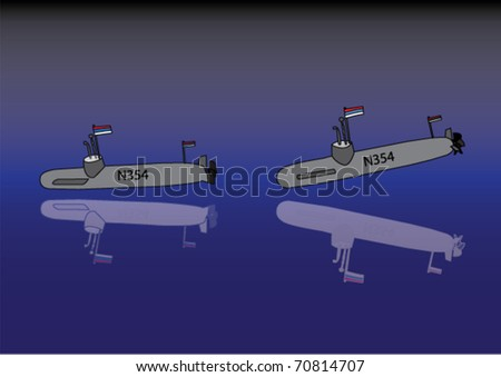 Submarine - vector - stock vector
