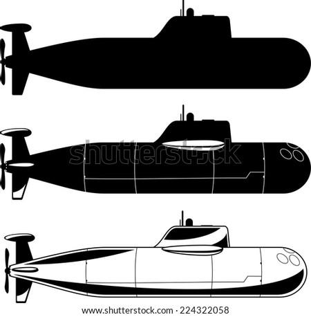 Submarine War Icons vector illustration. - stock vector