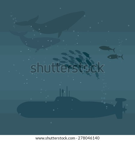 Submarines and whales. Vector illustration - stock vector