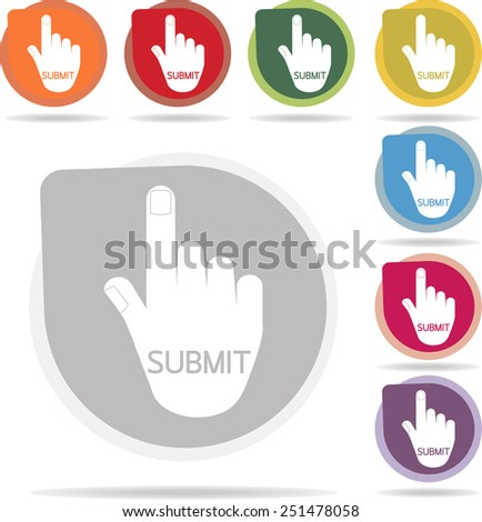 submit of hand icon set on white background vector - stock vector