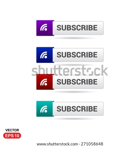 Subscribe Button. Abstract beautiful text button with icon. Purple Button, Blue Button, Red Button, Green Button, Turquoise button. web design element. Call to action icon button - stock vector