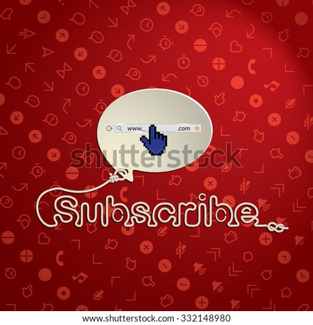 Subscribe text in cord texture - stock vector