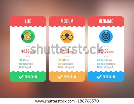 Subscription/pricing plan template. Flat style UI. Vector Illustration EPS10. - stock vector