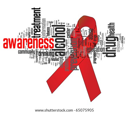 Substance abuse awareness ribbon with related keywords - stock vector