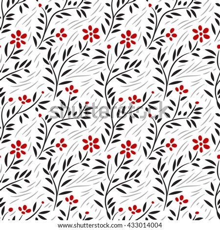 Subtle green leaves floral seamless pattern on white, vector - stock vector