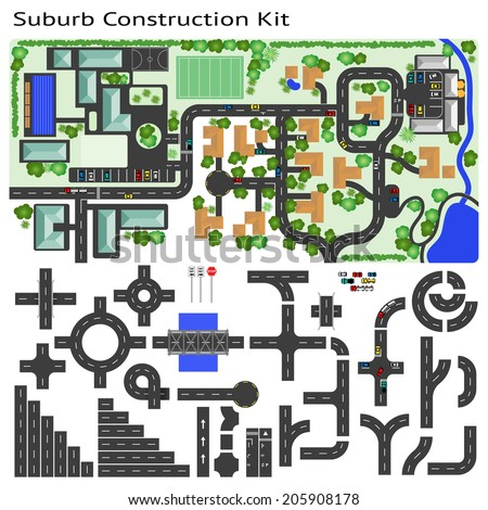 Suburb Road construction Kit to Build your own, see my portfolio for other kits  - stock vector