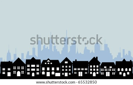 Suburban homes and big city - stock vector