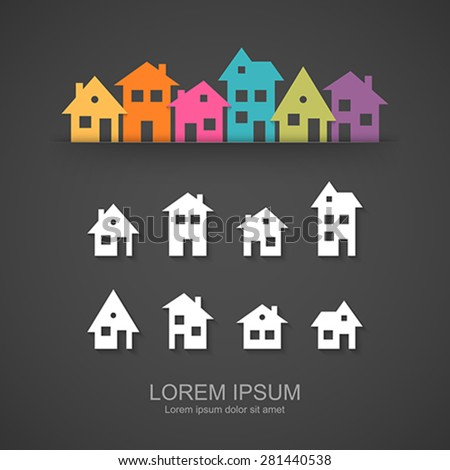 Suburban homes icon set. Easy to change colors. - stock vector