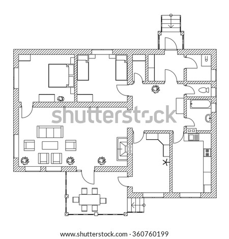 Suburban House Interior Black White Floor Stock Vector