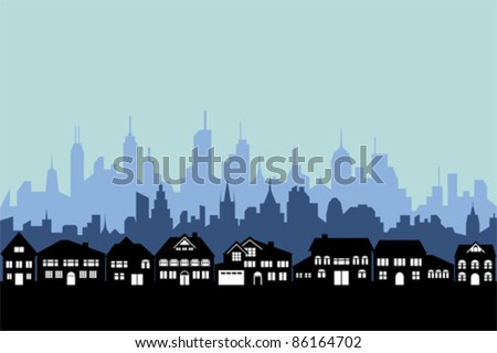 Suburbs and the urban city silhouette