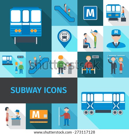 Subway decorative icons flat set with transport passengers employees and objects isolated vector illustration - stock vector
