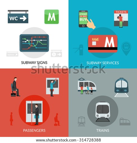 Subway design concept set with passenger and trains flat icons isolated vector illustration - stock vector
