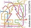 Subway metro christmas map. Vector art. - stock vector