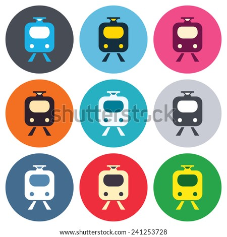 Subway sign icon. Train, underground symbol. Colored round buttons. Flat design circle icons set. Vector - stock vector