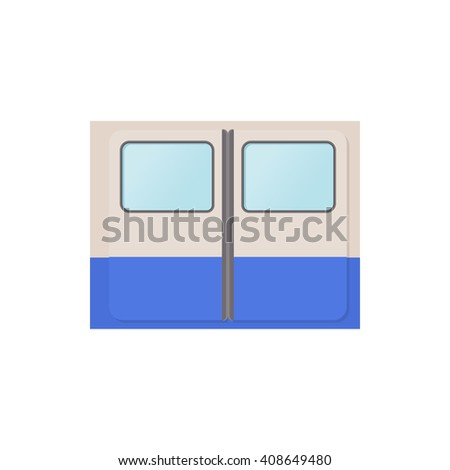 Subway train doors icon, cartoon style - stock vector
