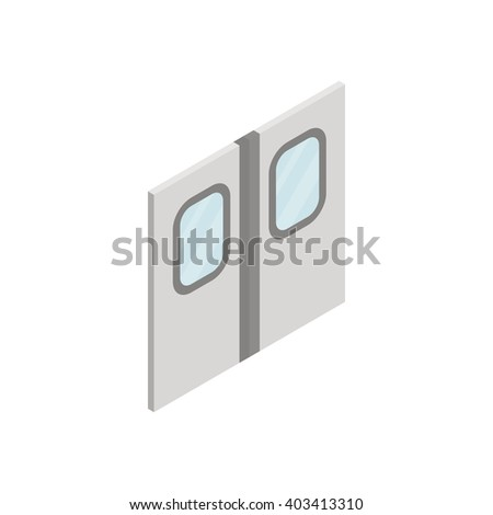 Subway train doors icon, isometric 3d style  - stock vector
