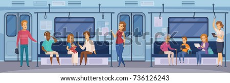 Subway underground train car interior with commuting passengers sitting reading standing with tablet cartoon vector illustration