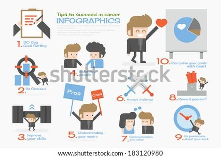 succeed businessman  info graphics flat design - stock vector