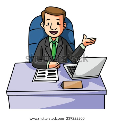 Succes Business man on desk - stock vector
