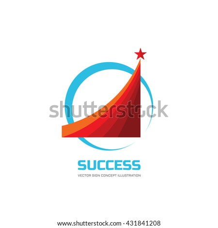 Success - abstract vector logo illustration. Design elements with star sign. Development, growth, start-up concept.
